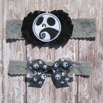 Jack Skellington Garter Set | Nightmare Before Christmas Wedding Garters | Bridal Garter and Toss Garter