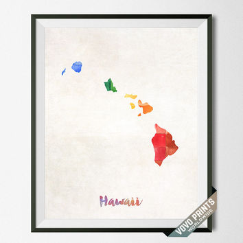 Hawaii Map, Print, State, Honolulu, Artwork, Decor, Poster, Kitchen, Dorm, Bedroom, USA, Wall Art, Gift, Painting, United States [NO 12]