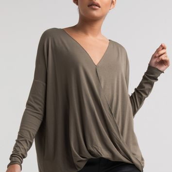 PAXTON Long Sleeve Wrap Front V Neck Top in Mustard, Dusty Pink, Black, Olive, Iced Coffee