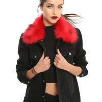 Black Denim Jacket With Faux Fur Trim