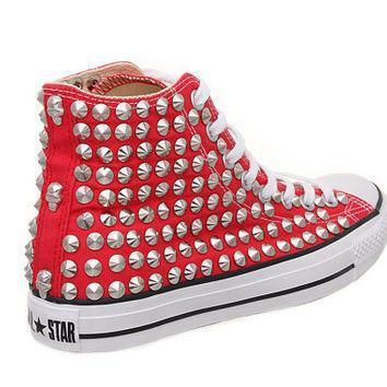 studded converse converse high top with silver conical rivet studs by customduo on et