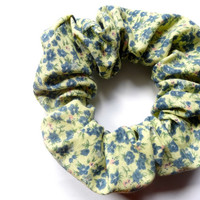 Pastel yellow and blue scrunchie, Floral Cotton Scrunchie, Hair Accessory