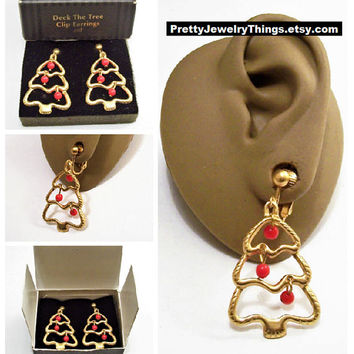 Avon Christmas Deck The Tree Clip On Earrings Satin Gold Tone Vintage 1994 Red Hoop Dangle Accent Beads Wavy Open Lined Rib Dangles