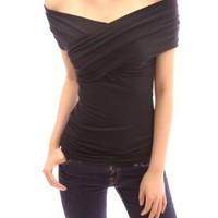 PattyBoutik Women's Crossover Off Shoulder Top (Black M)