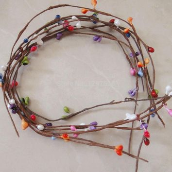 40CM diy craft floral wire dried branches artificial ivy pip berry garland,flower arrangements for home,christmas,wedding,hair