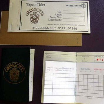 Harry Potter Gringotts Bank Book & Deposit Slips by writtenbysanta