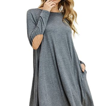 Swing Dress with Elbow Patch