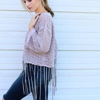 Twilight Sky Lilac Chunky Open Knit Fringe Cropped Sweater