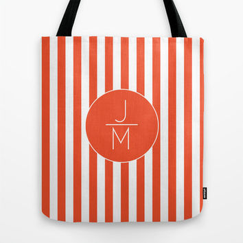 Orange & White StripeMonogram Tote Bag