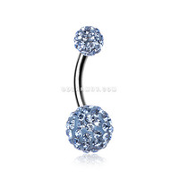 Classic Multi-Gem Sparkle Belly Ring (Light Blue)