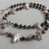 Freshwater Pearl, Pink and Black Agate, and Seed Bead Necklace