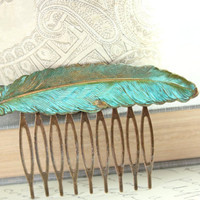 Feather Comb, Verdigris Patina, Large Feather, Antique Gold Brass, Woodland Hair Accessories, Metal Hair Comb, Autumn Fashion