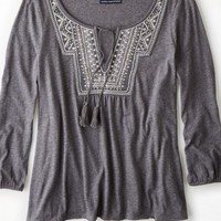 AEO Women's Embroidered Peasant Shirt (Light Heather Grey)