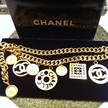 STATEMENT Vintage 1990's CHANEL Huge Multi Charms Gold Tone Chain Belt/ Necklace