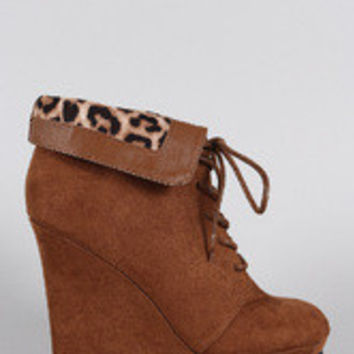 Qupid Suede Leopard Collar Round Toe Lace Up Wedge Booties