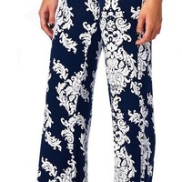 2017 New Loose High Waist Flare Wide Leg Floral Print Long Palazzo Pants Formal Trousers For Women