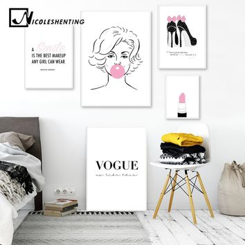 Marilyn Monroe Lipstick Lashes Fashion Art Canvas Painting Pink Beauty Prints Poster Quote Wall Picture Girls Bedroom Decoration
