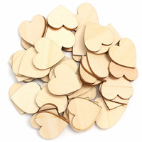 Simple DIY 50Pcs Wood Wooden Hearts Embellishment Kid Art Decor Scrapbooking Craft Card 30X30mm Painted Varnished Lovely Patten