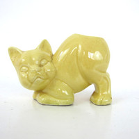 small yellow Cat planter vintage cactus flower pot Kitten planter / 1950s RETRO Ceramic Pottery mid century decor Louanne's Estate Sale