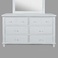 Traditional Style Wooden Dresser with Six Drawers, White - BM183537