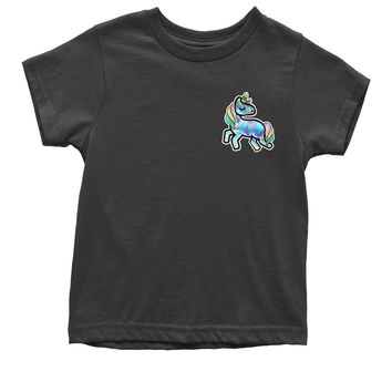 Embroidered Holographic Unicorn Patch (Pocket Print) Youth T-shirt