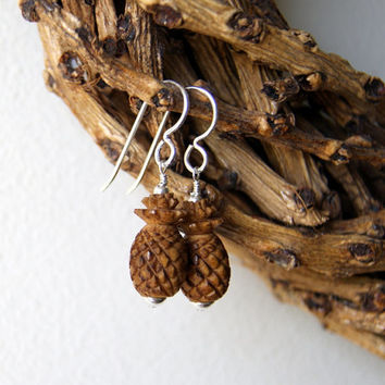 Pineapple Earrings - vintage tea dyed carved pineapple bone beads - sterling silver