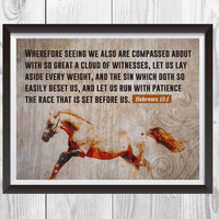 Hebrews 12.1 Run The Race Print, Christian Art Wall Decor, Christian Wall Art,  Horse print, Horse Art, Bible Print