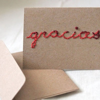"Kraft red burgundy Simple Mini Blank Thank You Notecard Eco (2 1/2 x 3 1/2) ""gracias"""