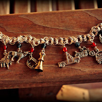 TWILIGHT Charm bracelet, Tibetan Silver with hand beading on Silver Plated Chain-Swan, Vampire Teeth, Wolf-Choose Black or White Beads