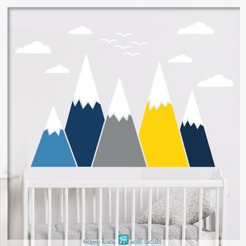 Mountain Wall Decal, Mountain Wall Art, Mountain wall decal nursery, Mountain Decor