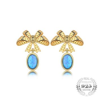 Bow Shaped Black Opal Earrings 925 Sterling Silver