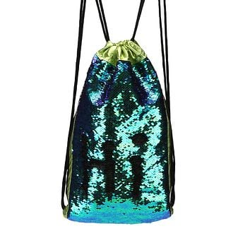 Mermaid Drawstring Sequin Backpack in Blue and Green Ombré