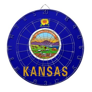 Dartboard with Flag of Kansas, USA