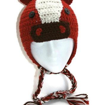 Childs horse hat, horse beanie, toddler horse hat western hat earflap childs hat
