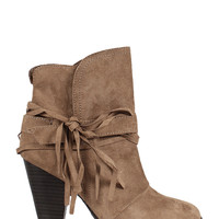 Raelynn Fringe Accent Booties - Taupe