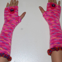 OOAK Hippie Gypsy Candy Colored Pinks finger less gloves with Flowers
