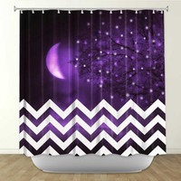 Monika Strigel's 'Purple Moon Chevron' | Artistic Shower Curtains
