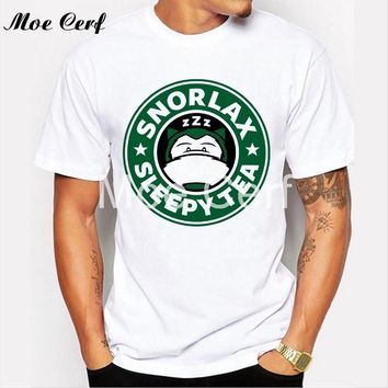 Snorlax sleep tea Letter T Shirt Creative Anime T-shirt Men  Mens T Shirt Slim Fit O Neck T-shirt Hipster Tops Tee L1-R34Kawaii Pokemon go  AT_89_9