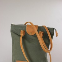 African Made Sandstorm Green Canvas and Brown Leather Handbag Tote