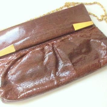 Bags by Supreme Brown Snakeskin Shoulder Bag Clutch