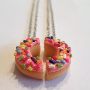 Pink Frosted Doughnut Halves Necklaces, BFF Jewelry, Polymer Clay Food
