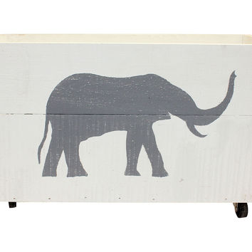 Elephant Crate, White/Gray, Storage Boxes & Bins