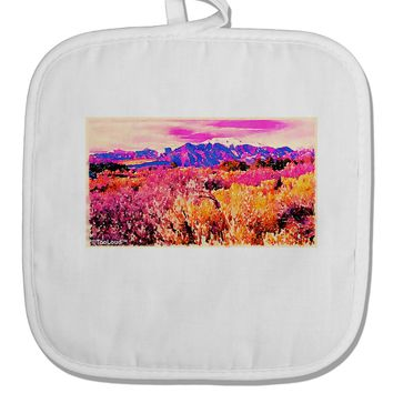 Colorful Colorado Mountains White Fabric Pot Holder Hot Pad by TooLoud