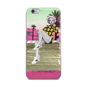 Marilyn Monroe Sitting On A Stack Of Money Painting iPhone 4 4s 5 5s 5C 6 6s 6 Plus 6s Plus 7 & 7 Plus Case