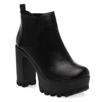 My1stwish Women's High Block Heel Platform Elasticated Ankle Boots