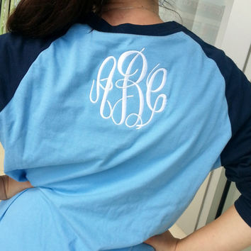 Unisex Three quarter Sleeve Raglan Baseball Tee Monogram on BACK Font Shown MASTER CIRCLE