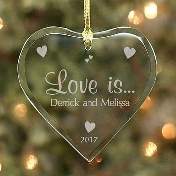 Couples Heart Glass Ornament