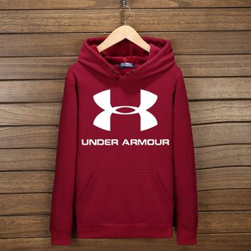 Under Armour Fashion Print Cotton Long Sleeve Sweater Pullover Hoodie Sweatshirt Wine red G-YSSA-Z