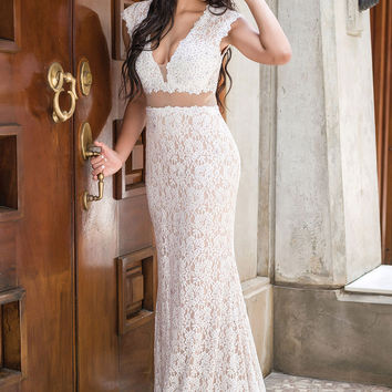 White Lace Illusion Prom Dress 31050