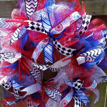 Deco Mesh wreath Red White Blue Door decor 4th of July Flag Day Independence Stars&stripes Americana Patriotic by vineandwhimsy on etsy